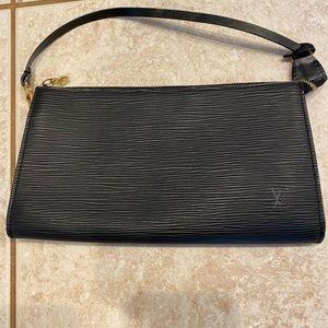 Authentic Louis Vuitton black epileather pochette